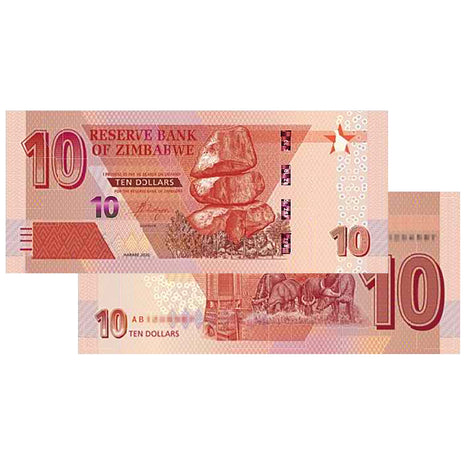 NEW Zimbabwe Dollars - 2020 $10 Zimbabwe Banknote - Uncirculated
