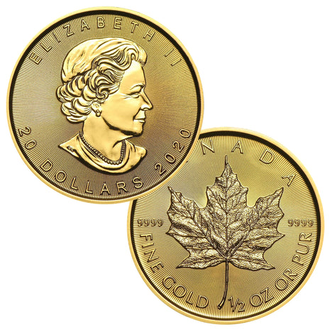 2020 $20 Canada 1/2 oz Gold Maple Leaf Brilliant Uncirculated BU