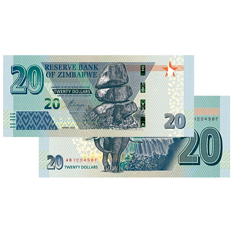 NEW 2020 - $20 Zimbabwe Banknote Bearer - Uncirculated - Active Currency