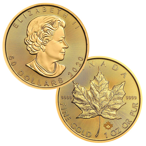 2020 $50 Canada 1oz Gold Maple Leaf Brilliant Uncirculated BU