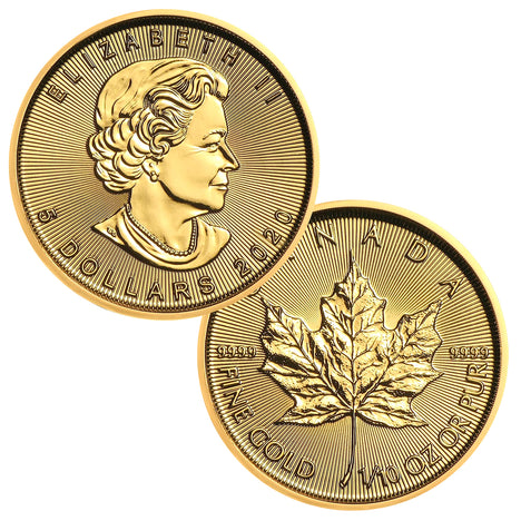 2020 $5 Canada 1/10 oz Gold Maple Leaf Brilliant Uncirculated BU