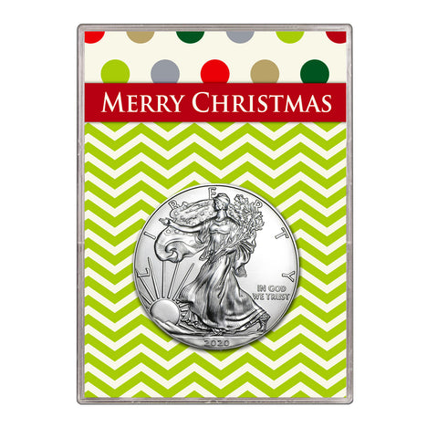 2020 $1 American Silver Eagle Gift Holder – Merry Christmas Design