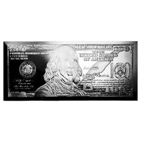 4 Ounce oz .999 Silver Bar - $100 Franklin Bill Design - Includes Box and COA