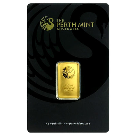 5 Gram .9999 Gold Bar - Perth Mint - In Assay Card