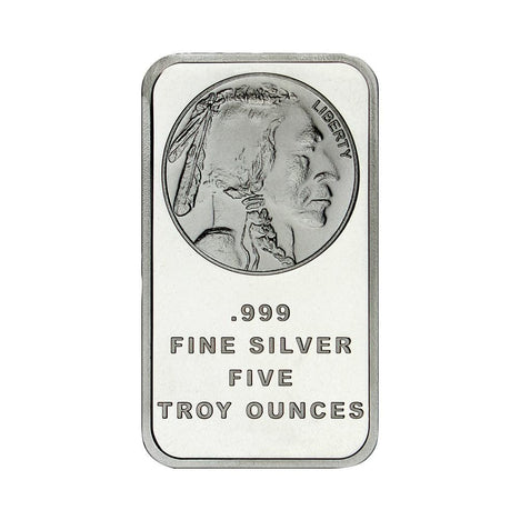 5 Ounce Silvertowne Mint .999 Silver Buffalo Bar