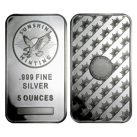 5 Ounce Sunshine Minting .999 Silver Eagle Bar
