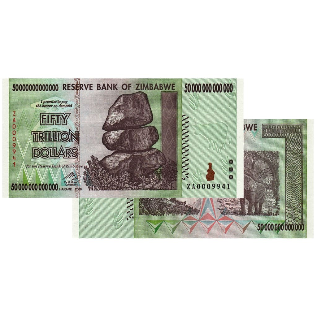 50 Trillion Zimbabwe Banknotes 2008 Za Series Replacement