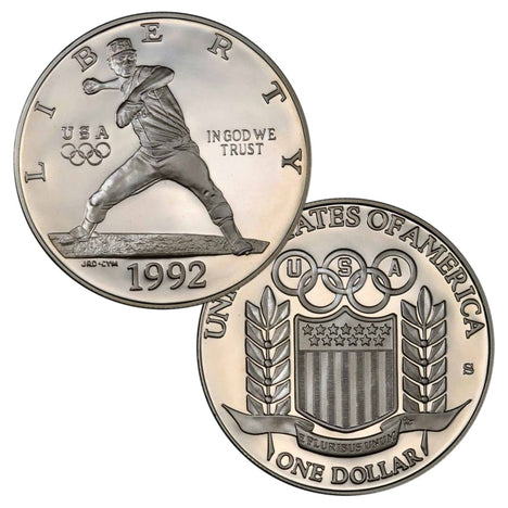 90% Silver 1992 Olympic Baseball Dollar Proof