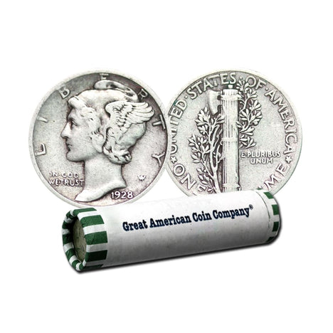 90% Silver Mercury Dimes $5 Face (Roll of 50) Circulated