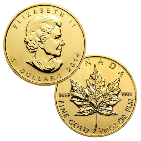 .9999 1/10 Ounce Gold Canadian Maple Leaf