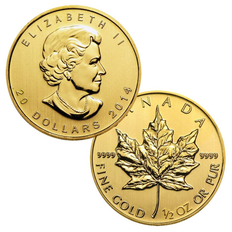 .9999 1/2 Ounce Gold Canadian Maple Leaf