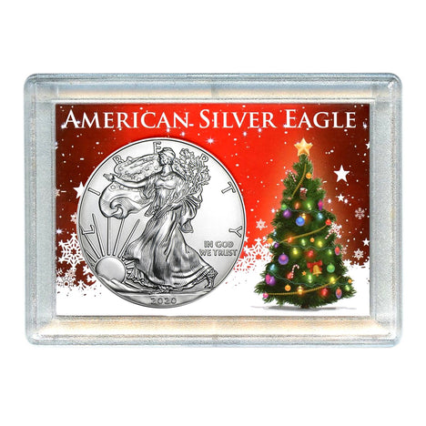 2020 $1 American Silver Eagle with Christmas Tree Holiday Gift Holder