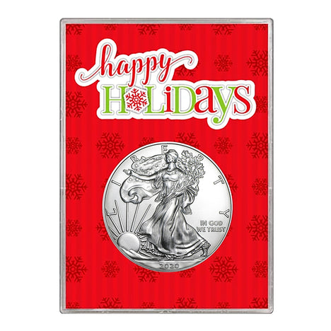 2020 $1 American Silver Eagle Gift Holder – Happy Holidays Design
