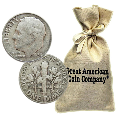 Bag of $100 Face 90% Silver Roosevelt Dimes Circulated