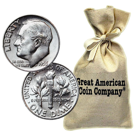 Bag of $50 Face 90% Silver Roosevelt Dimes BU