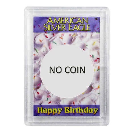 Silver American Eagle HE Harris Holder - NO COIN - Happy Birthday Design