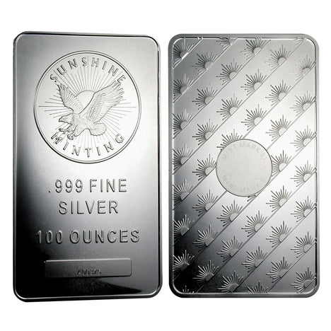100 Ounce oz .999 Silver Eagle Bar - Sunshine Minting REV OBV