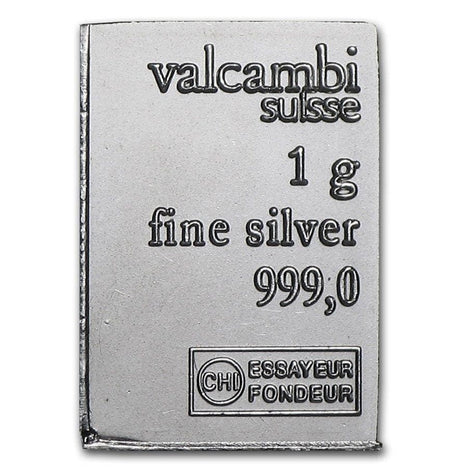 Valcambi Suisse Individual 1 Gram .999 Silver Bars