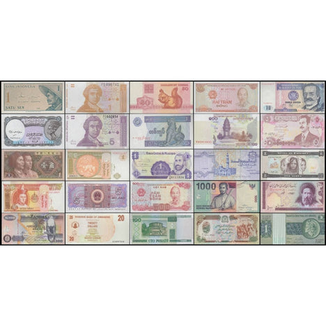World Currency - Uncirculated Banknote Set - Lot of 25