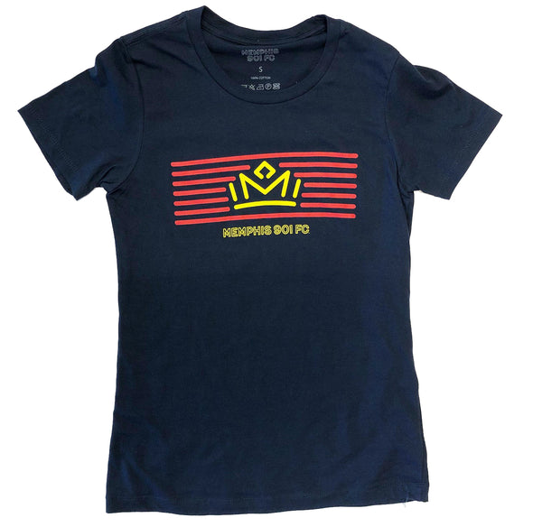 FC Lady's Crown/ Mem 901 Navy Tee