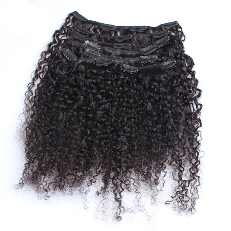 3B 3C Kinky Curly Hair Clip In Human Hair Extensions Demyhair