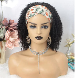 Kinky Curly With Headband Human Hair Wig - Demyhair