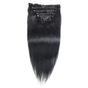 Straight Clip In Brazilian Human Hair Extensions