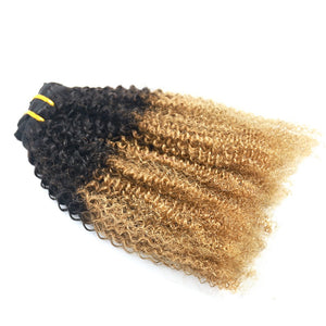 3b 3c Clip In Hair Extensions Kinky Curly 1b/27 Ombre