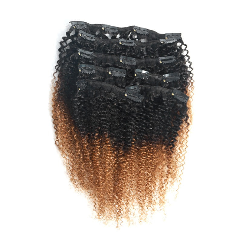Clip In Extensions Human Hair Kinky Curly 1B/30 Ombre