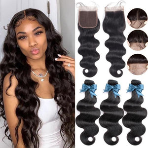 Body Wave Brazilian Human Hair Bundles With Closure Demyhair 24 24 24+18Closure Natural Color, Free Part