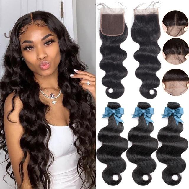 Body Wave Brazilian Human Hair Bundles With Closure Demyhair