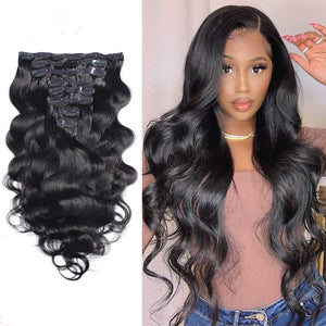 Body Wave Clip In Brazilian Human Hair Extensions - Demyhair