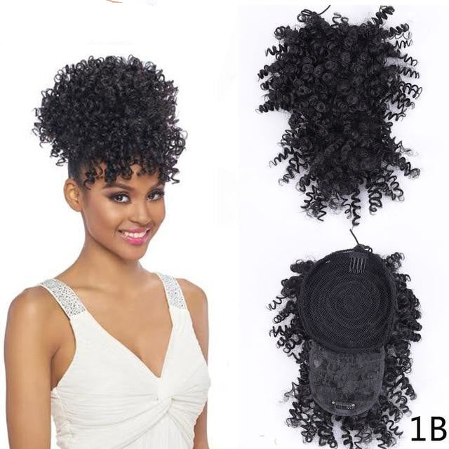 Clip in Afro Kinky Curly Ponytail With Bangs