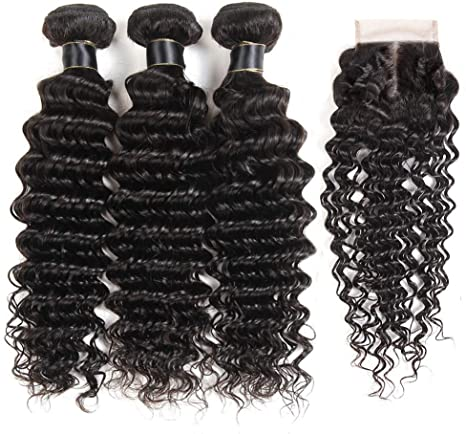 Deep Wave Human Hair Bundles With Closure Demyhair