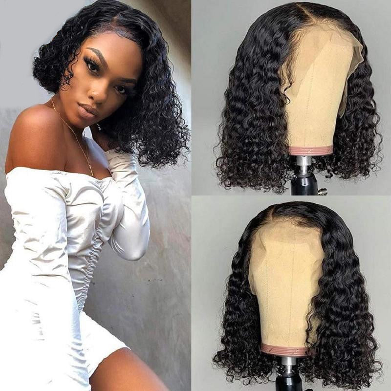 DemyHairDeep Wave Brazilian Human Hair Short Bob Wig