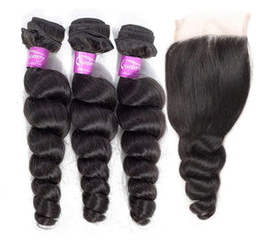 Loose Wave Human Hair Bundles With Closure Demyhair