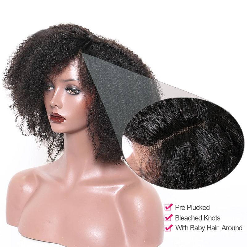 Afro Kinky Wigs With Bangs 250%