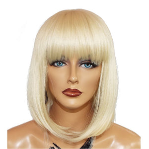 Blonde Human Hair Wig With Bangs