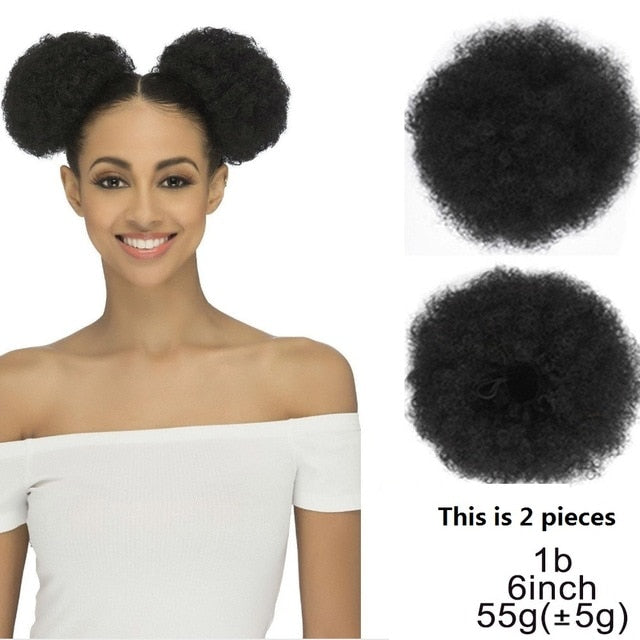 Puff Afro Curly Ponytail Clip in Hair Bun