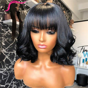 Short Curly Wavy Wigs With Bangs