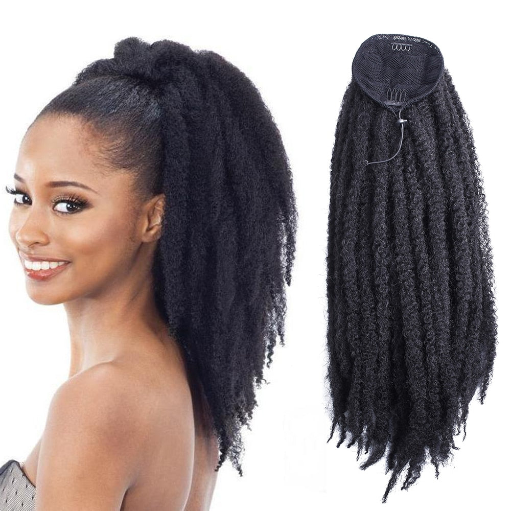 18inch Long Afro Kinky Curly Drawstring Ponytail Wig Crochet Marley Braids Twist Hairpiece Synthetic Clip in Hair Extensions