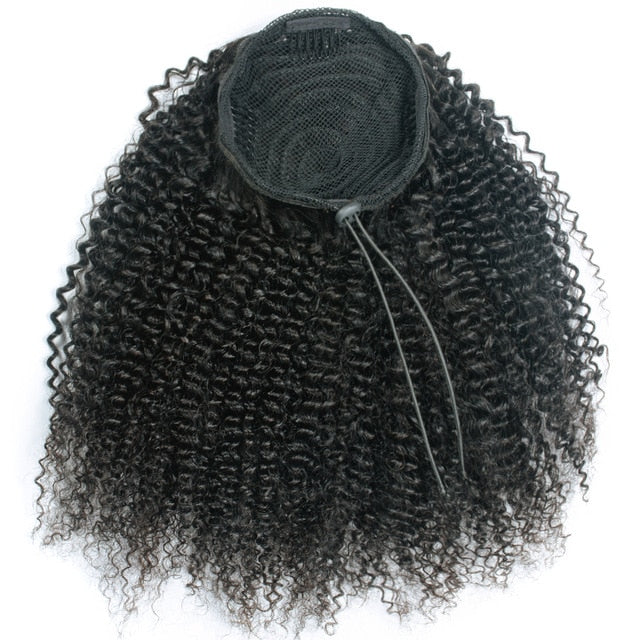 Afro Kinky Drawstring Ponytail Brazilian Remy Human Hair Extensions