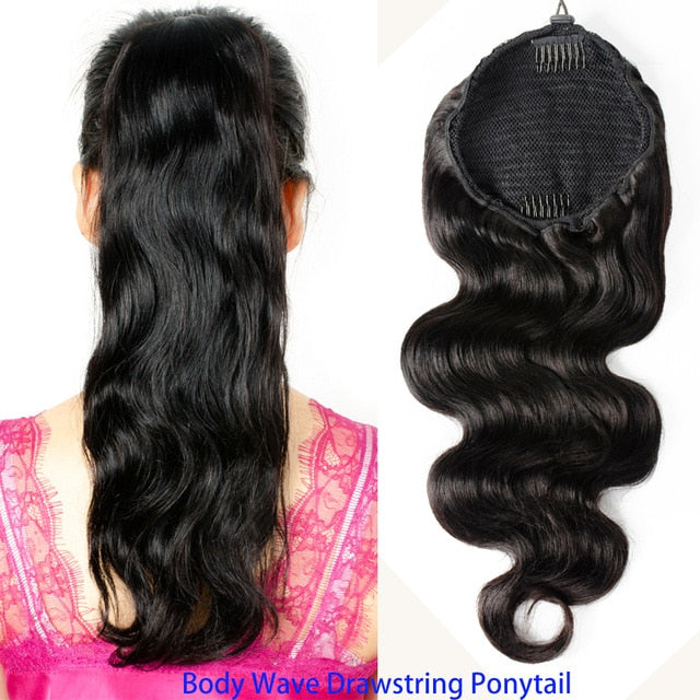 Drawstring Ponytail Brazilian Remy Human Hair Extensions