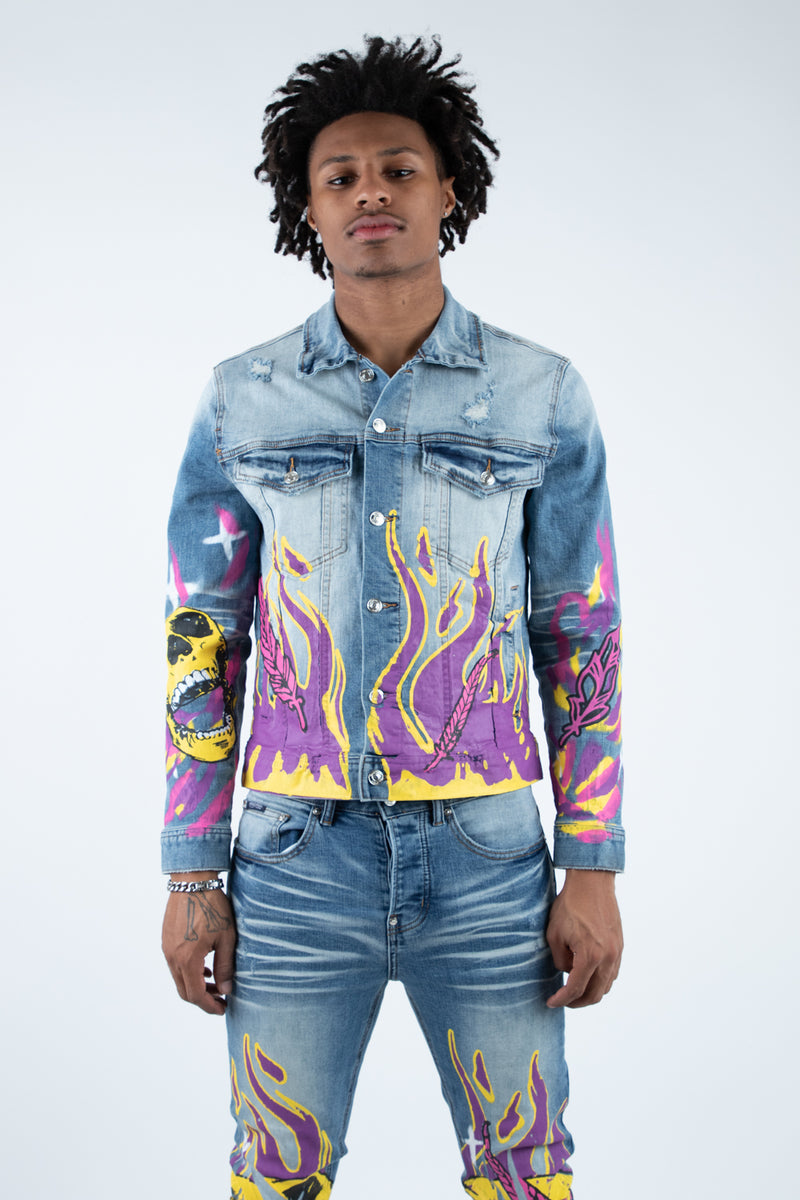DRAKE PRINTED DENIM JACKET
