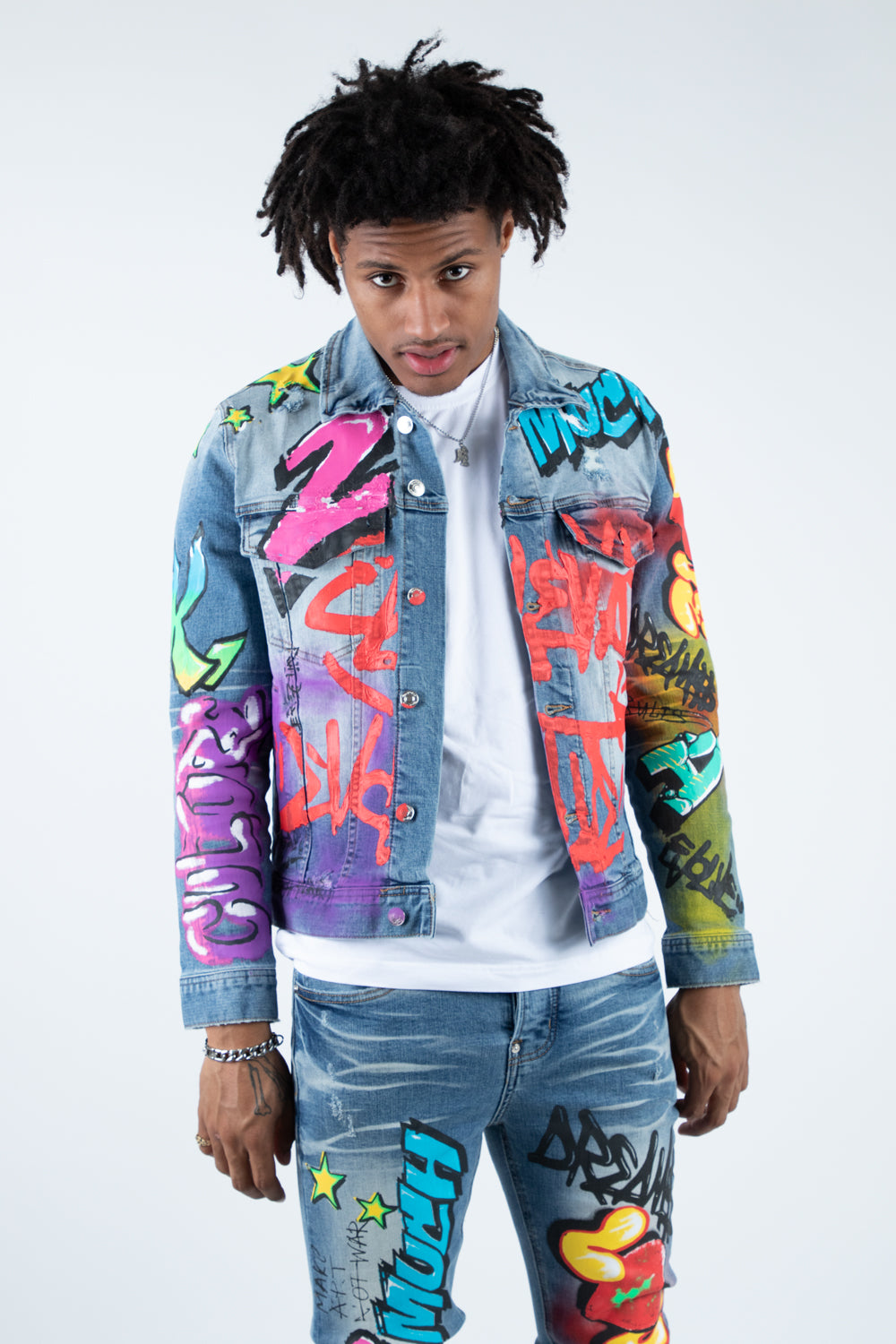 ELEVATE PRINTED DENIM JACKET BLUE