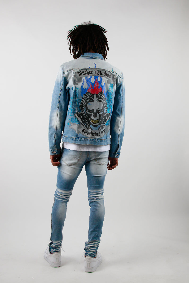 PARIS CRYSTAL DENIM JACKET BLUE