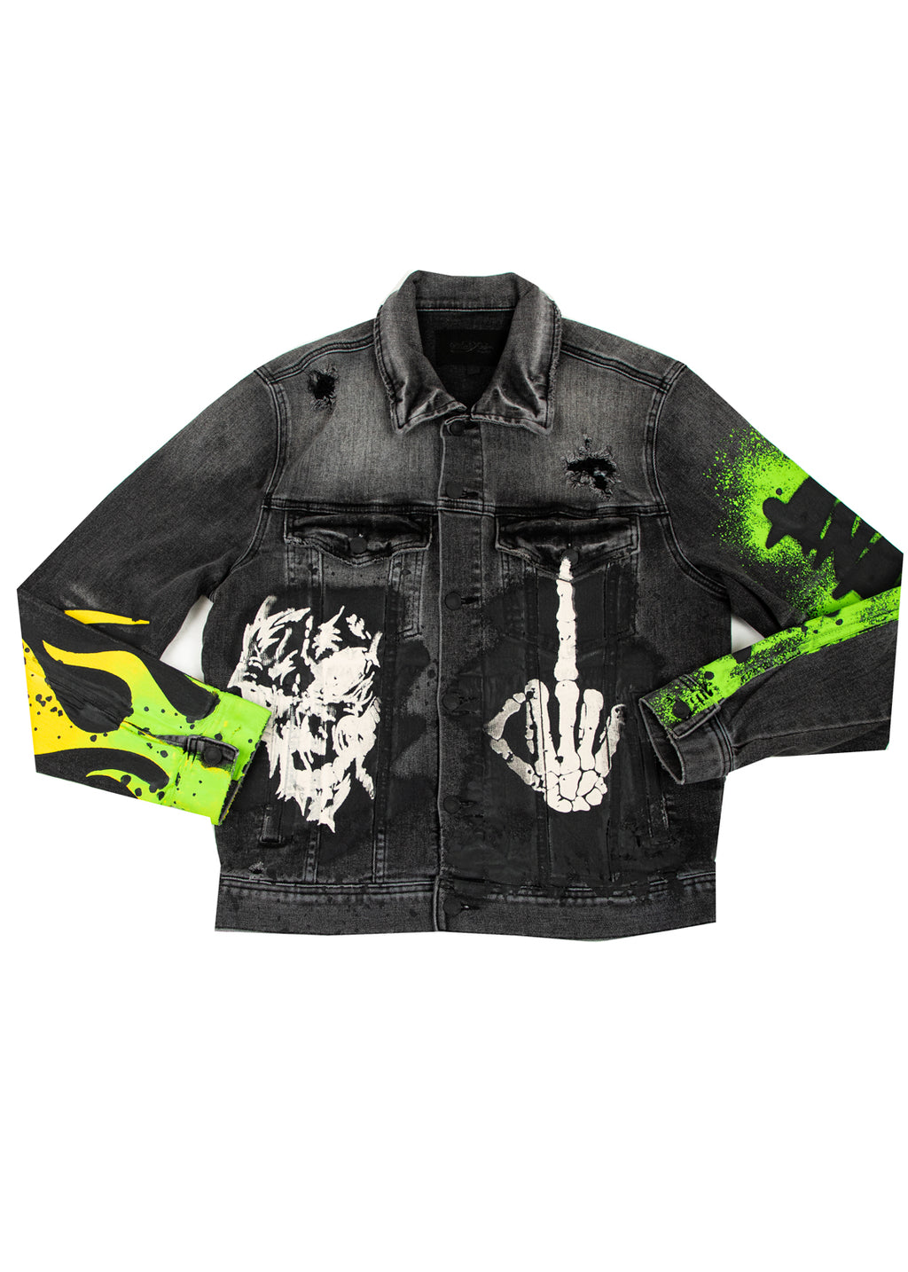 ANARCHY PRINTED DENIM JACKET DARK