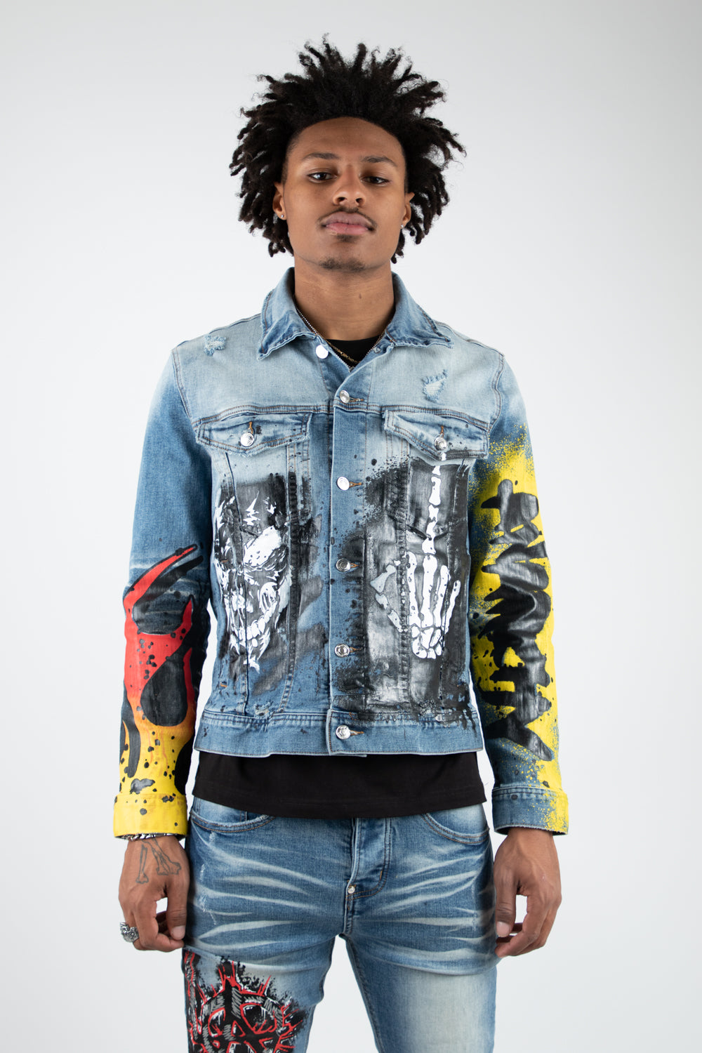 ANARCHY PRINTED DENIM JACKET BLUE