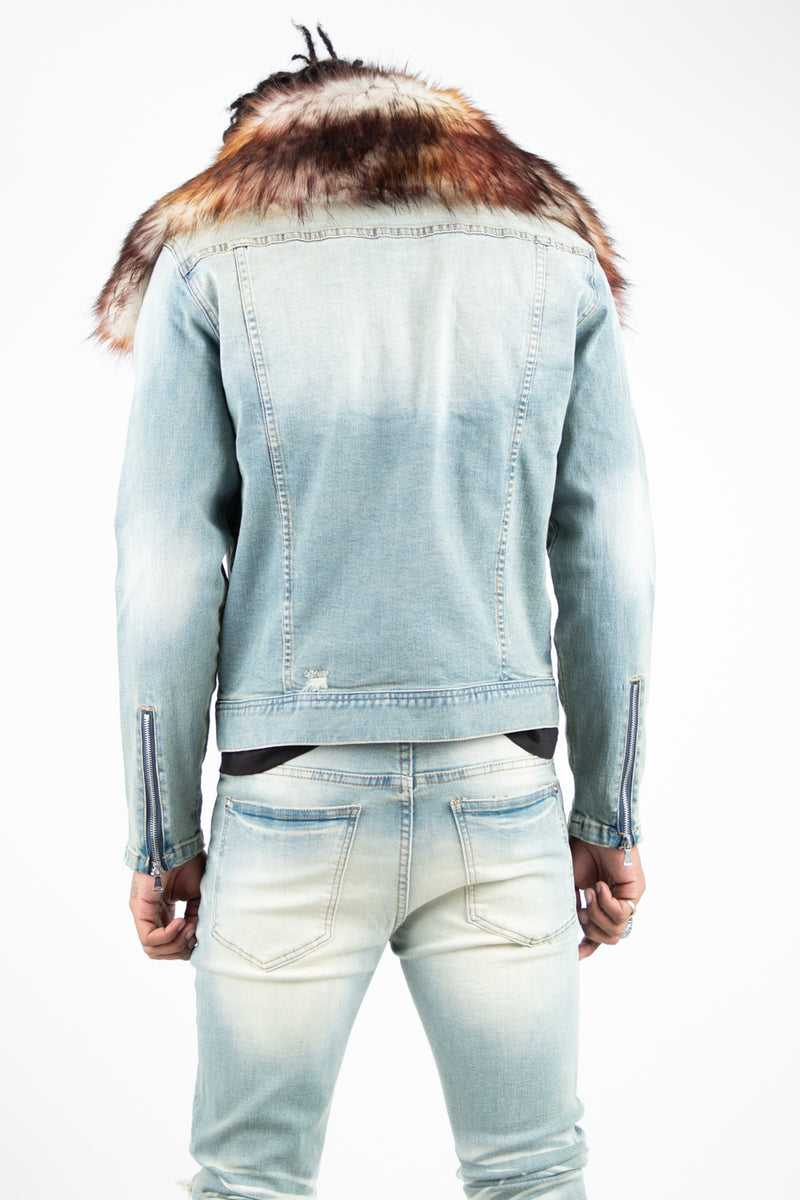 KURT REMOVABLE FUR COLLAR JACKET DIRTY WASH