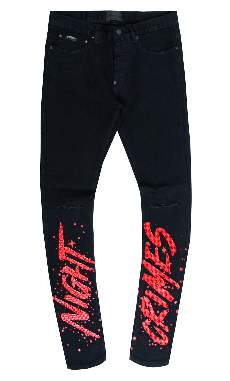 NIGHT CRIMES CRYSTAL DENIM PANT BLACK
